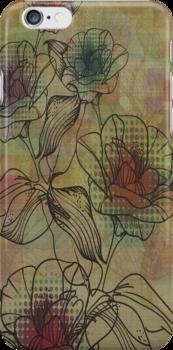 Brown And Beige Rustic Retro Flowers Design by artonwear