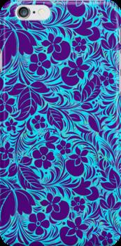 Purple And Blue Vintage Floral Ornate Damasks Pattern by artonwear