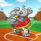 Olympic Shot Put Elephant by Zoo-co
