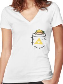 Pocket Link (with triforce) Women's Fitted V-Neck T-Shirt