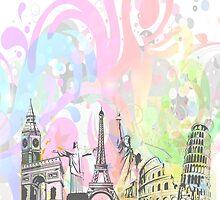 Colorful world landmarks illustration by artonwear