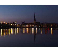 River Daugava & Riga At Night Photographic Print