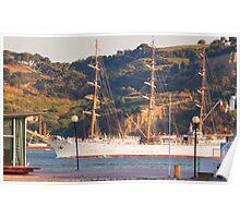 """""""Dar Mlodziezy"""" Tall Ship, Lisbon Poster"""