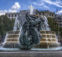 Trafalgar Square  fountain by timmburgess