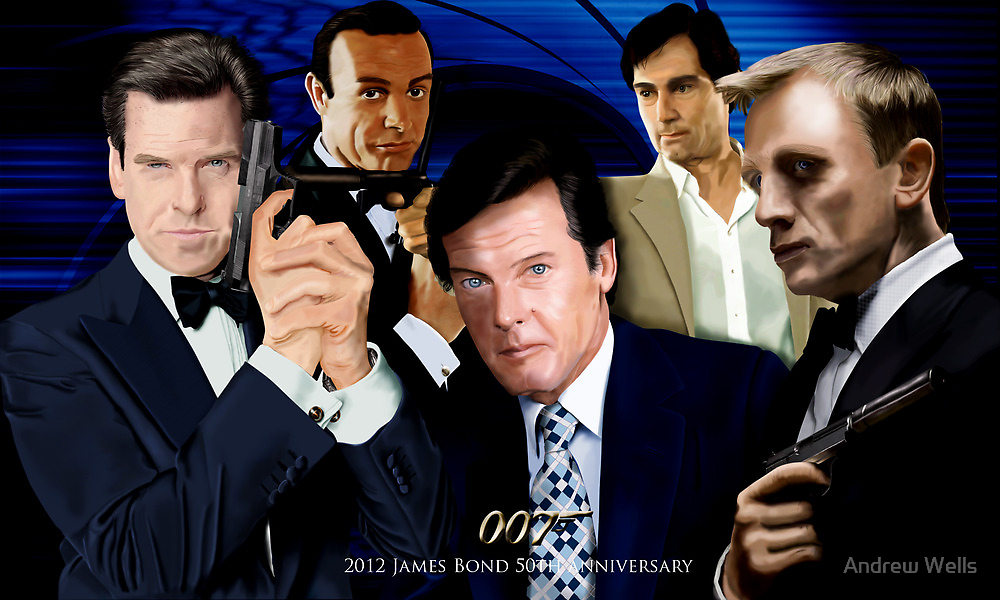 James Bond 50th Anniversary Poster by Andrew Wells