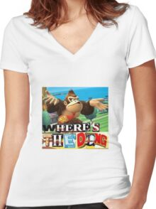 where is the dong Women's Fitted V-Neck T-Shirt