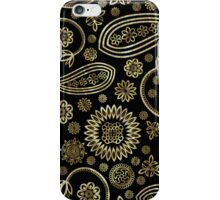 Black Gold And Touch Of Diamonds Pattern Vintage Floral Paisley iPhone Case/Skin