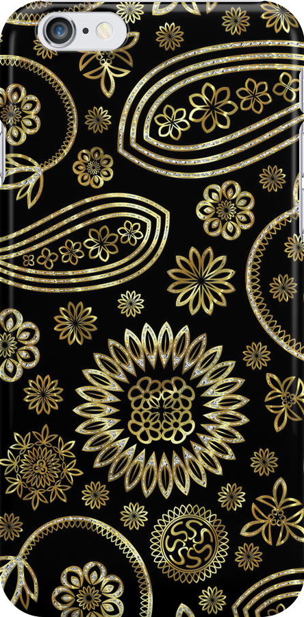 Black Gold And Touch Of Diamonds Pattern Vintage Floral Paisley by artonwear