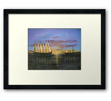 Two Schooners at Sunset, Old Norfolk, Virginia 1925 Framed Print