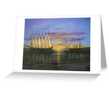 Two Schooners at Sunset, Old Norfolk, Virginia 1925 Greeting Card