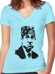 The Office Prison Mike -  Steve Carrell Women's Fitted V-Neck T-Shirt