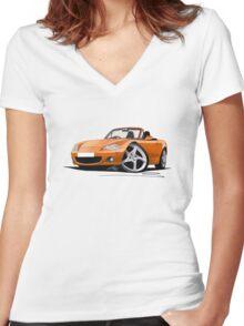Mazda MX5 (Mk2) Gold Women's Fitted V-Neck T-Shirt