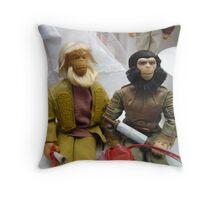Monkeys vs Barbie Throw Pillow
