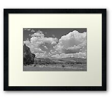 Thunderstorm Clouds Boiling Over The Colorado Rocky Mountains BW Framed Print