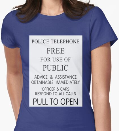Police Telephone Box Womens Fitted T-Shirt