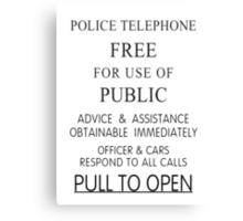 Police Telephone Box Canvas Print
