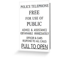 Police Telephone Box Greeting Card