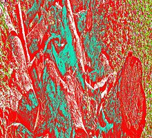 Wood Pile in Red & Green by noriesworld