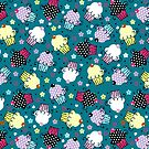 Cute Colorful Cupcakes Pattern, Blue Background by artonwear