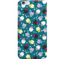 Cute Colorful Cupcakes Pattern, Blue Background iPhone Case/Skin