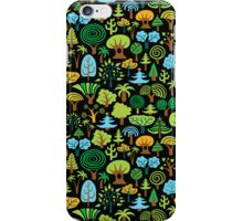 Assorted Colorful Cute Trees Pattern, Black Background iPhone Case/Skin