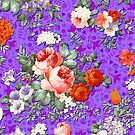 Colorful Assorted Floral Collage On Pink Background by artonwear