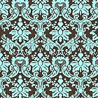 Blue And Brown Elegant Vintage Ornate Damasks Pattern by artonwear