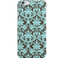Blue And Brown Elegant Vintage Ornate Damasks Pattern iPhone Case/Skin