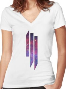 Skrillex purple galaxy Women's Fitted V-Neck T-Shirt