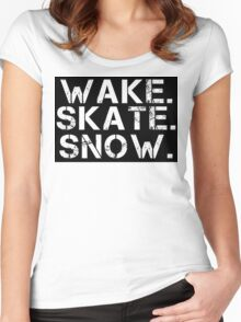 Wake. Skate. Snow. 2 Women's Fitted Scoop T-Shirt