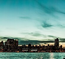 New Yorks skyline at night ice  by hannes cmarits