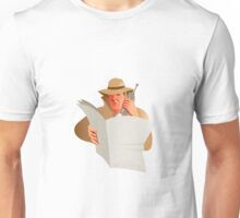male detective calling cellphone newspaper Unisex T-Shirt