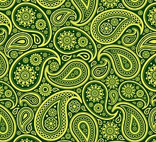 Green And Yellow Vintage Elegant Ornate Paisley Seamless Pattern Design by artonwear