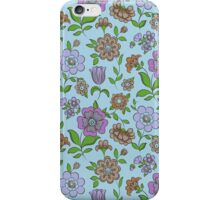 Colorful Retro Floral Collage On Blue Background iPhone Case/Skin