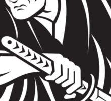 Japanese Samurai warrior drawing sword Sticker