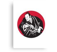 Japanese Samurai warrior drawing sword Canvas Print