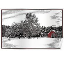 Red Barn and Apple Trees Poster