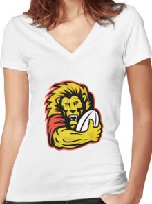 rugby player lion holding ball Women's Fitted V-Neck T-Shirt