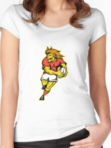 rugby player lion running ball Women's Fitted Scoop T-Shirt