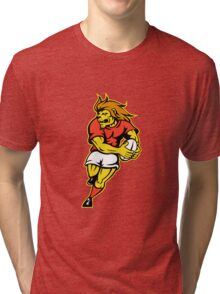 rugby player lion running ball Tri-blend T-Shirt