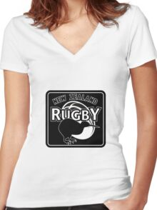 New Zealand rugby logo with kiwi Women's Fitted V-Neck T-Shirt