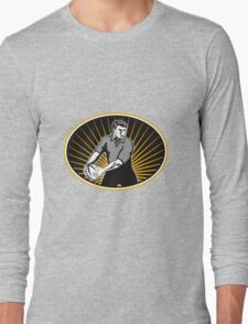 rugby player passing ball Long Sleeve T-Shirt