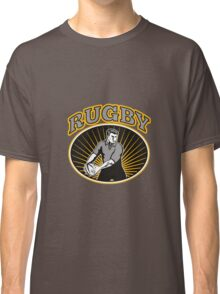 rugby player passing ball with text Classic T-Shirt