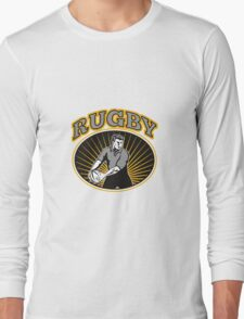 rugby player passing ball with text Long Sleeve T-Shirt