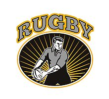 rugby player passing ball with text by patrimonio