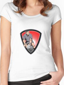 rugby player running ball in shield Women's Fitted Scoop T-Shirt