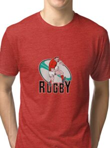 rugby player charging Tri-blend T-Shirt