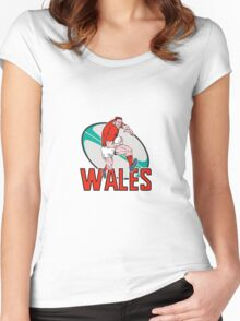 wales rugby player running ball Women's Fitted Scoop T-Shirt