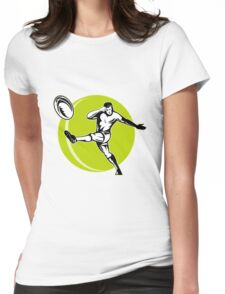 rugby player kicking ball Womens Fitted T-Shirt