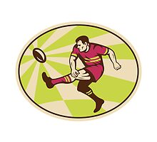 rugby player kicking ball side low by patrimonio